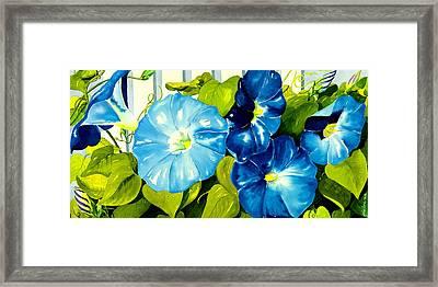Morning Glories In Blue Framed Print by Janis Grau