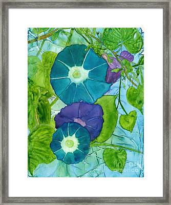 Morning Glories In Watercolor On Yupo Framed Print
