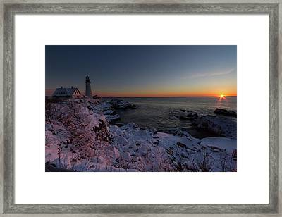 Morning Glow At Portland Headlight Framed Print