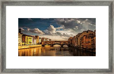 Framed Print featuring the photograph Morning Glow On Ponte Vecchio by Andrew Soundarajan