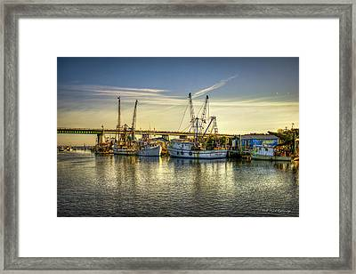 Dawns Morning Glow Tybee Island Shrimp Boat Art Framed Print by Reid Callaway