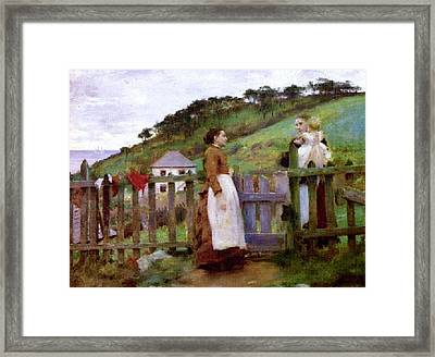 Framed Print featuring the painting Morning Gossip by Henry Scott Tuke