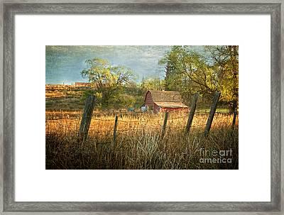 Morning Greets The Barnyard  Framed Print
