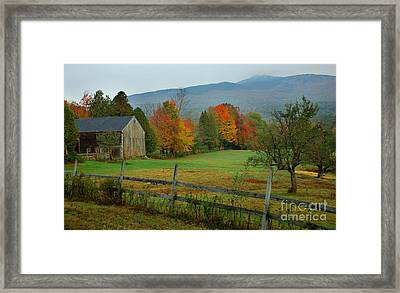 Morning Grove - New England Fall Monadnock Farm Framed Print by Jon Holiday