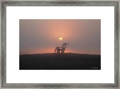 Morning Haze Iron Horse Art  Framed Print by Reid Callaway