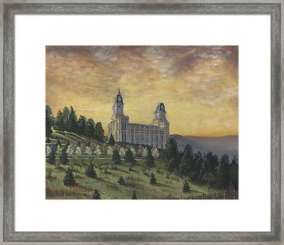 Morning He Came Again Into The Temple Framed Print by Jeff Brimley