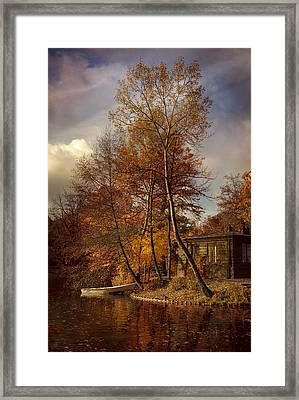 Morning Impression With A White Boat Framed Print