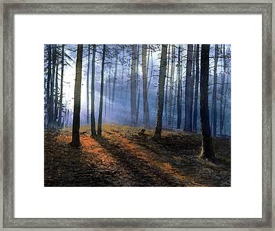 Framed Print featuring the painting Morning In Pine Forest by Sergey Zhiboedov