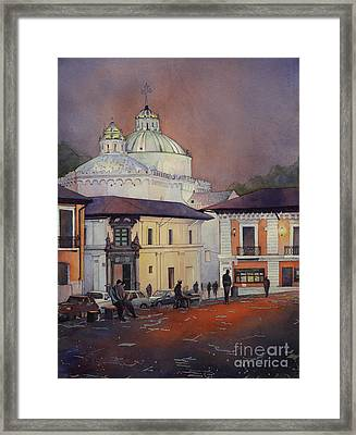 Morning In The Plaza- Quito, Ecuador Framed Print