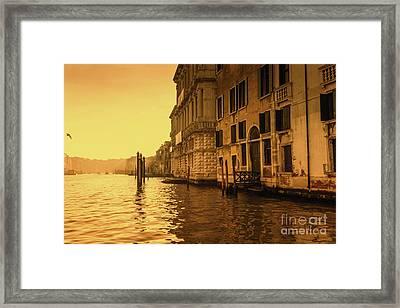 Morning In Venice Sepia Framed Print