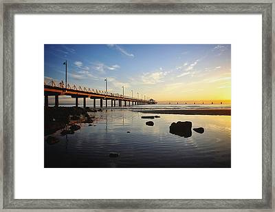 Morning Light Down By The Pier Framed Print