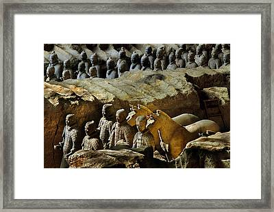 Morning Light Falls On Soldiers Framed Print by O. Louis Mazzatenta