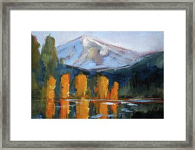 Framed Print featuring the painting Morning Light Mountain Landscape Painting by Nancy Merkle