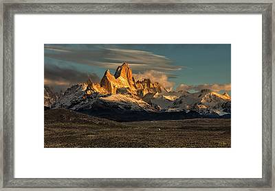 Framed Print featuring the photograph Morning Light On Fitzroy by Stuart Gordon
