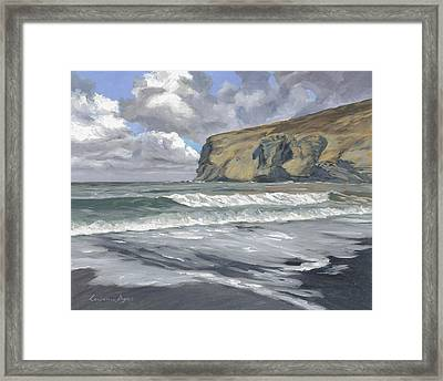 Framed Print featuring the painting Morning Light On Pencannow Point by Lawrence Dyer