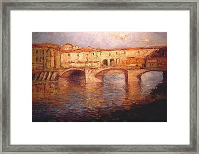 Morning Light On The Ponte Vecchio Bridge Framed Print by R W Goetting