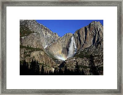 Framed Print featuring the photograph Morning Light On Upper Yosemite Falls In Winter by Jetson Nguyen