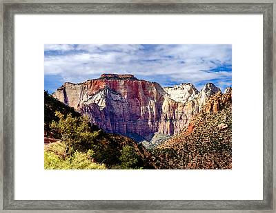 Morning Light On Zion's West Temple Framed Print