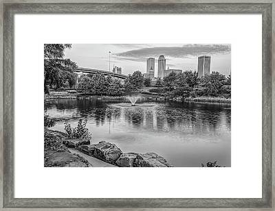 Morning Light Over Tulsa Downtown Skyline Black And White Framed Print by Gregory Ballos