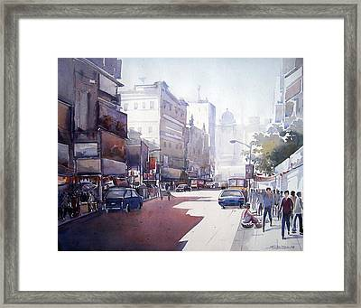 Morning Light Shadow In Kolktaa Framed Print by Samiran Sarkar