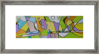Morning Love With Birds By The Mirror Framed Print by Michael Keogh