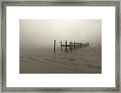 Morning March Snow Sepia Framed Print by Betsy Knapp