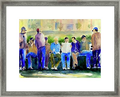 Morning Meeting In Portsmouth Square Framed Print