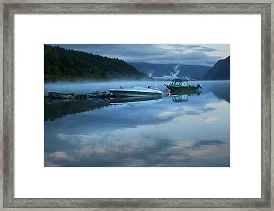 Morning Mist Adams Lake Framed Print by Theresa Tahara