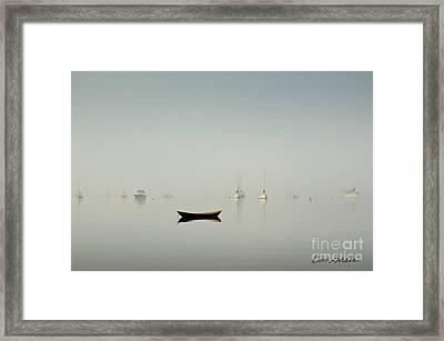Morning Mist Bristol Harbor Framed Print