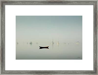 Morning Mist Bristol Harbor Framed Print