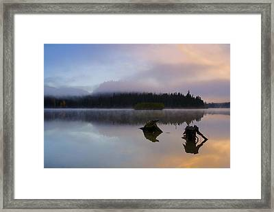 Morning Mist Burning Framed Print by Mike  Dawson