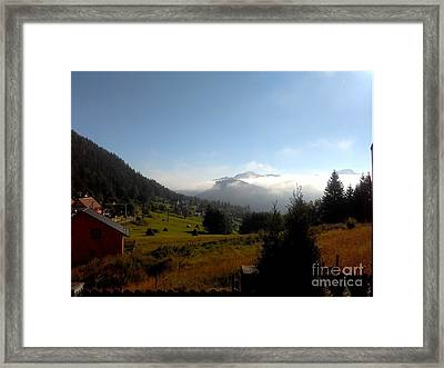 Morning Mist In The Magical Valley Framed Print