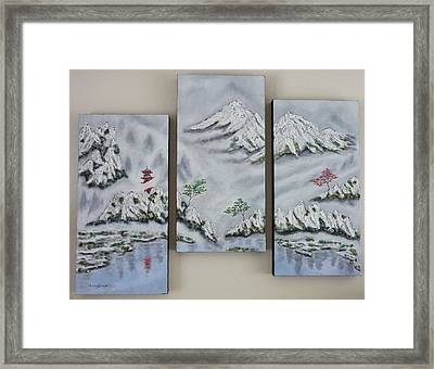 Framed Print featuring the painting Morning Mist Triptych by Amelie Simmons