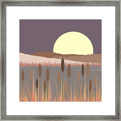 Morning Moon Framed Print by Val Arie