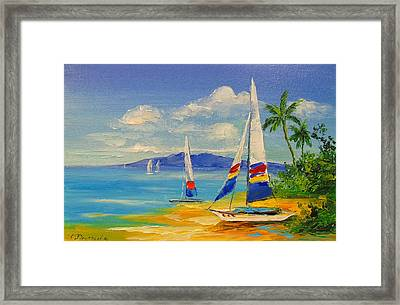 Morning On A Sunny Beach Framed Print by Olha Darchuk