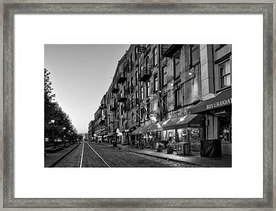 Morning On River Street In Black And White Framed Print