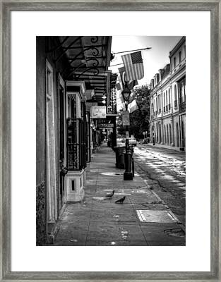 Morning On St. Ann Street In Black And White Framed Print by Chrystal Mimbs