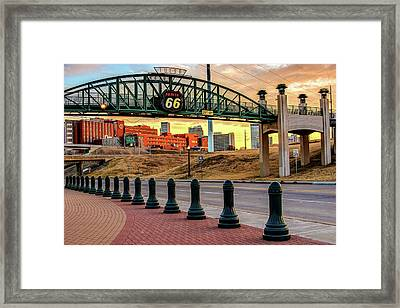 Rt 66 Sunrise - Tulsa Oklahoma's Route 66 Sign Framed Print