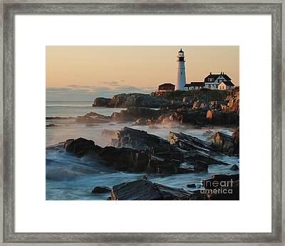 Framed Print featuring the photograph Morning On The Rocks by Paul Noble