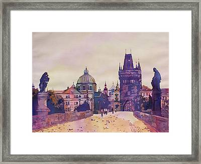 Morning On The St. Charles Bridge Framed Print by Jenny Armitage