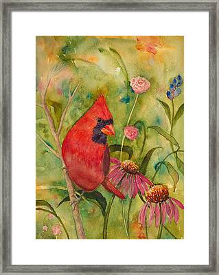 Morning Perch In Red Framed Print