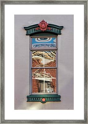 Framed Print featuring the photograph Morning Reflection In Window by Gary Slawsky