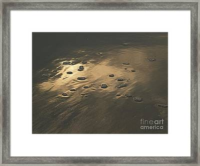Morning Reflections And Bubbles On Sand Framed Print by Anna Lisa Yoder