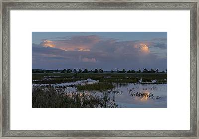 Morning Reflections Over The Wetlands Framed Print