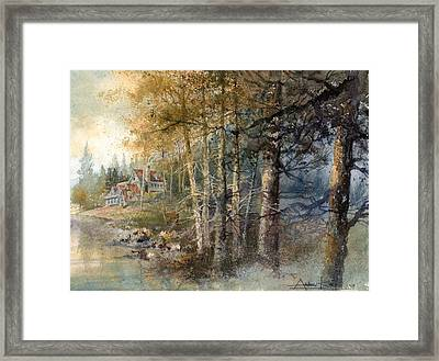 Framed Print featuring the painting Morning River by Andrew King