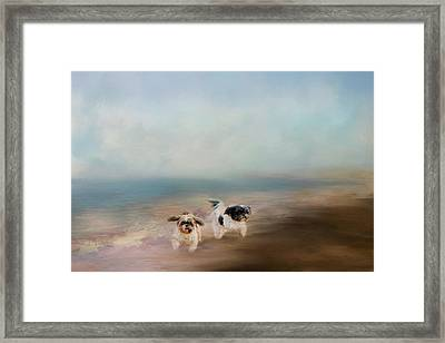 Morning Run At The Beach Framed Print