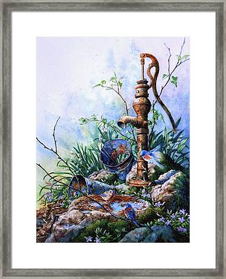 Morning Shower Framed Print