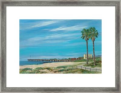 Morning Stroll At The Ventura Pier Framed Print by Tina Obrien