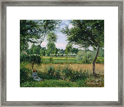 Morning Sunlight Effect At Eragny Framed Print by Camille Pissarro
