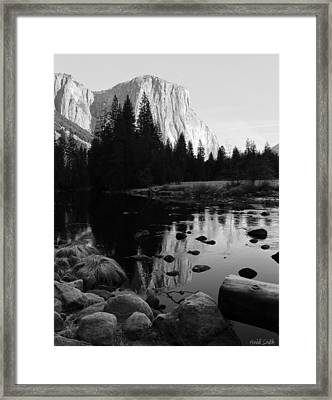 Morning Sunlight On El Cap - Black And White Framed Print by Heidi Smith